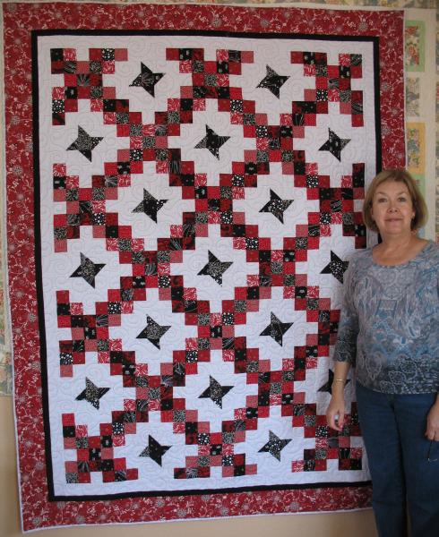 Angela's Red and Black Friendship Chain Quilt