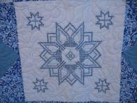 Patti's Blue Cross-Stitch Quilt